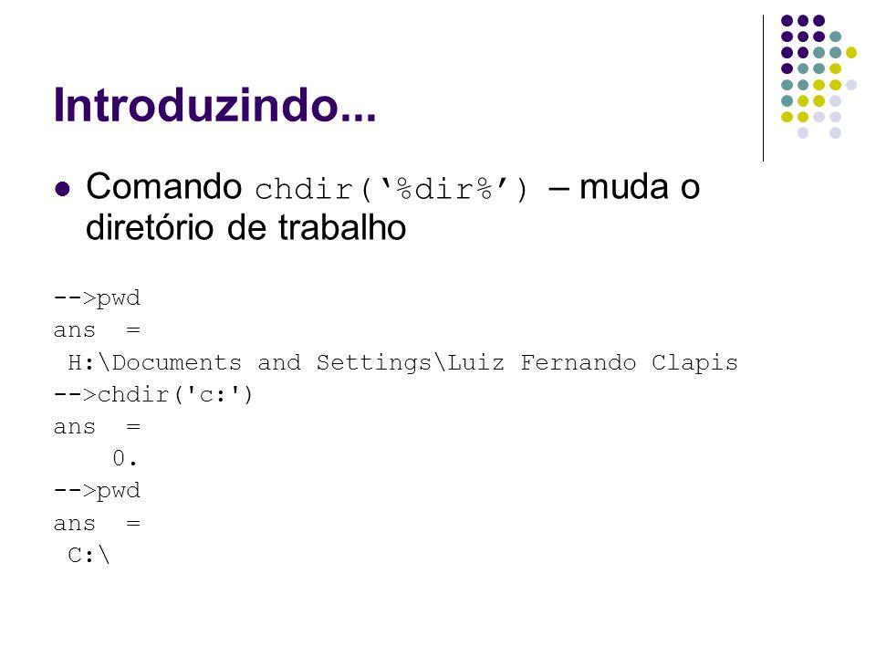 Introduzindo... Comando chdir('%dir%') – muda o diretório de trabalho -->pwd ans = H:\Documents and Settings\Luiz Fernando Clapis -->chdir('c:') ans =