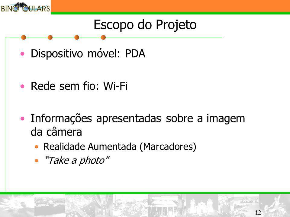 12 Escopo do Projeto Dispositivo móvel: PDA Rede sem fio: Wi-Fi Informações apresentadas sobre a imagem da câmera Realidade Aumentada (Marcadores) Take a photo