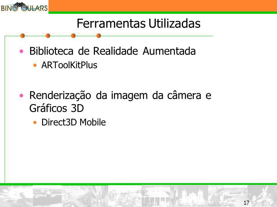 17 Ferramentas Utilizadas Biblioteca de Realidade Aumentada ARToolKitPlus Renderização da imagem da câmera e Gráficos 3D Direct3D Mobile