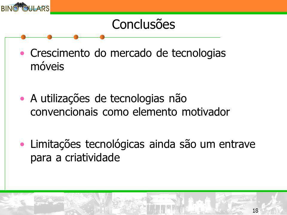 18 Conclusões Crescimento do mercado de tecnologias móveis A utilizações de tecnologias não convencionais como elemento motivador Limitações tecnológicas ainda são um entrave para a criatividade