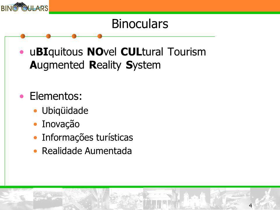 5 5 Binoculars Sistema voltado para turistas que desejam obter informações sobre pontos turísticos Informações disponíveis em todo lugar Uso de Realidade Aumentada para maior riqueza das informações Informações multimídia sobre pontos turísticos