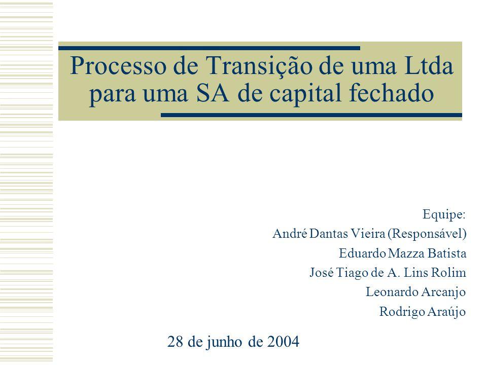 Processo de Transição de uma Ltda para uma SA de capital fechado Equipe: André Dantas Vieira (Responsável) Eduardo Mazza Batista José Tiago de A. Lins