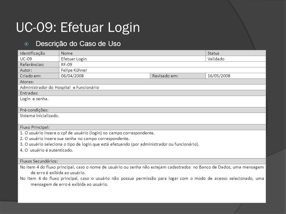 UC-09: Efetuar Login IdentificaçãoNomeStatus UC-09Efetuar LoginValidado Referências:RF-09 Autor:Felipe Kühner Criado em:06/04/2008Revisado em:16/05/20