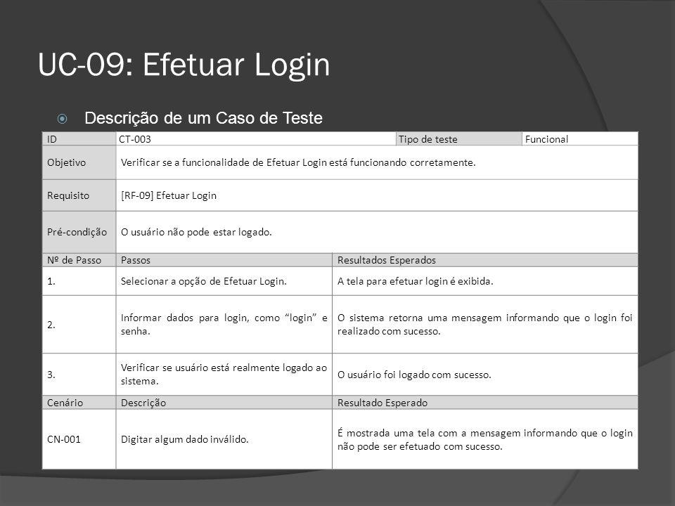 UC-09: Efetuar Login IDCT-003Tipo de teste Funcional ObjetivoVerificar se a funcionalidade de Efetuar Login está funcionando corretamente. Requisito[R