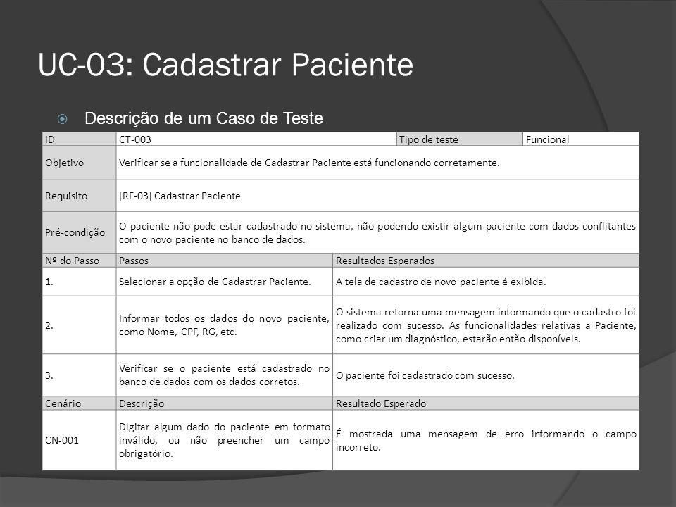 UC-03: Cadastrar Paciente IDCT-003Tipo de teste Funcional ObjetivoVerificar se a funcionalidade de Cadastrar Paciente está funcionando corretamente. R