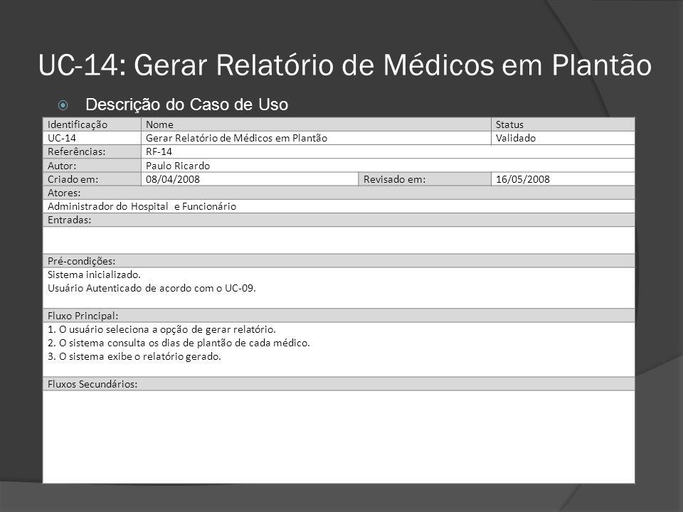 UC-14: Gerar Relatório de Médicos em Plantão IdentificaçãoNomeStatus UC-14Gerar Relatório de Médicos em PlantãoAguardando Validação Referências:RF-14