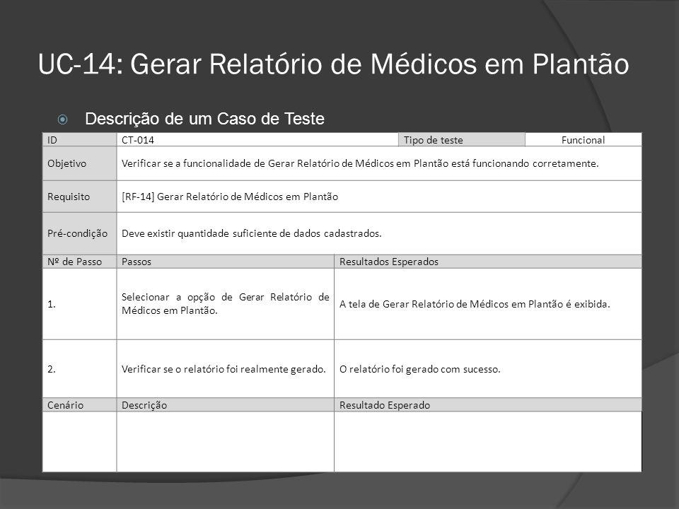 UC-14: Gerar Relatório de Médicos em Plantão IDCT-014Tipo de teste Funcional ObjetivoVerificar se a funcionalidade de Gerar Relatório de Médicos em Pl