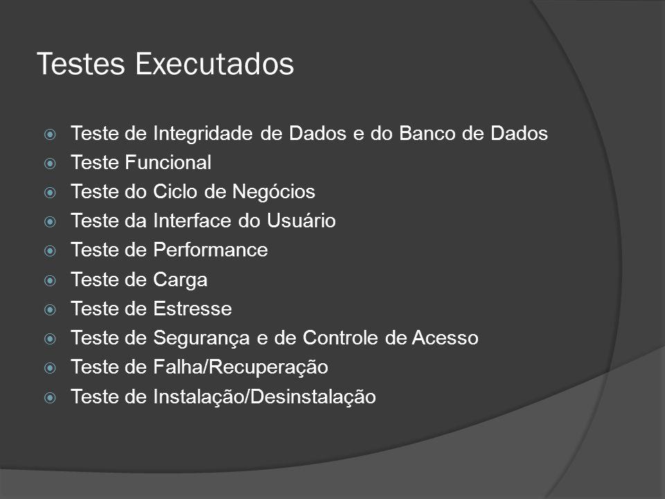 Testes Executados  Teste de Integridade de Dados e do Banco de Dados  Teste Funcional  Teste do Ciclo de Negócios  Teste da Interface do Usuário 