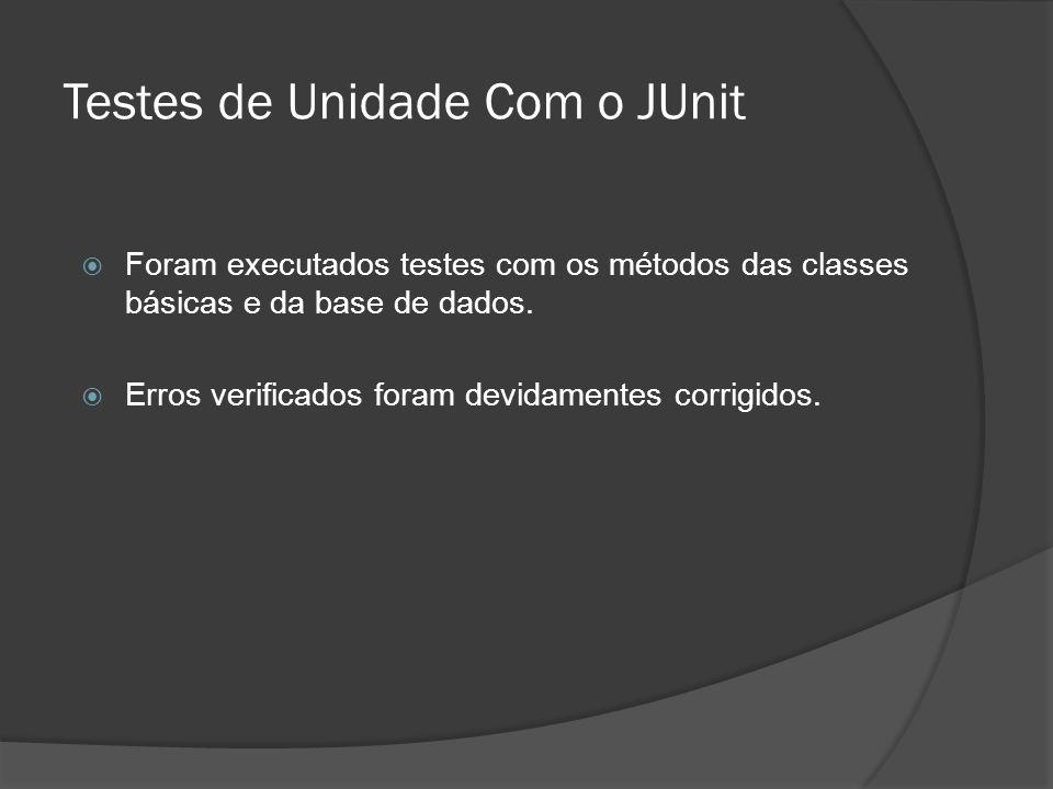 Testes de Unidade Com o JUnit  Foram executados testes com os métodos das classes básicas e da base de dados.  Erros verificados foram devidamentes