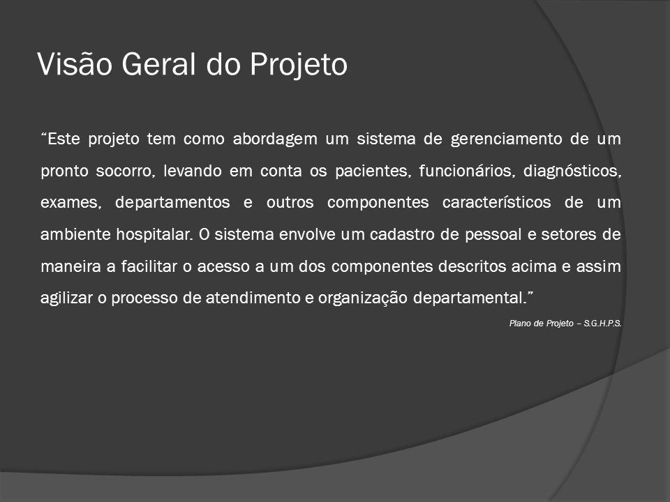 """Visão Geral do Projeto """"Este projeto tem como abordagem um sistema de gerenciamento de um pronto socorro, levando em conta os pacientes, funcionários,"""