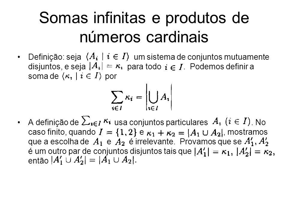 Definição: seja um sistema de conjuntos mutuamente disjuntos, e seja para todo. Podemos definir a soma de por A definição de usa conjuntos particulare