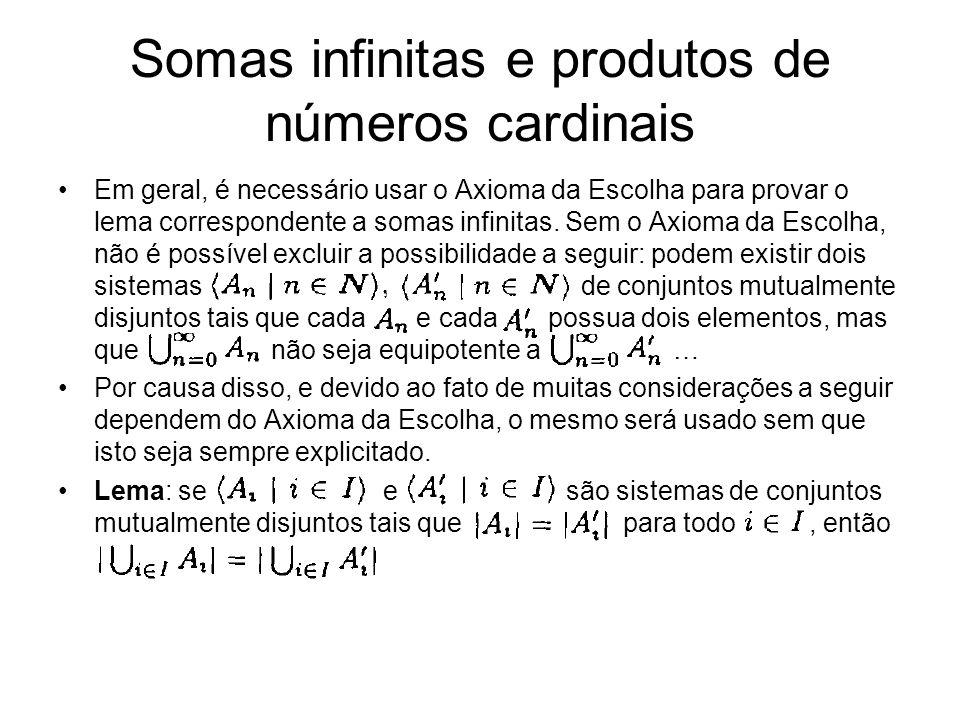 Em geral, é necessário usar o Axioma da Escolha para provar o lema correspondente a somas infinitas. Sem o Axioma da Escolha, não é possível excluir a