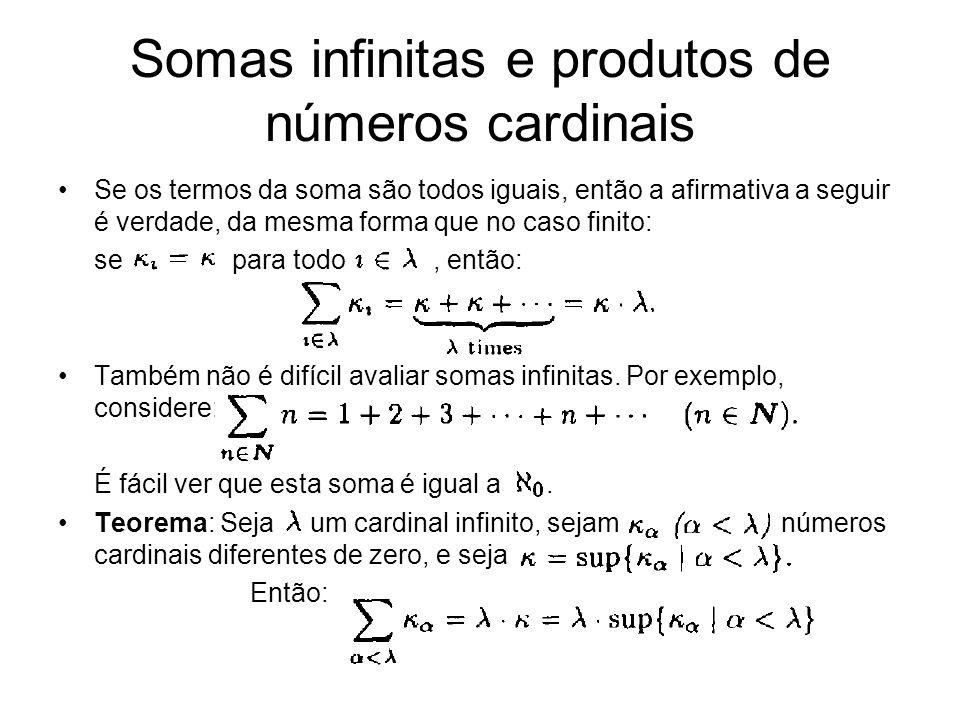 Teorema: Seja um cardinal infinito, sejam números cardinais diferentes de zero, e seja Então: Prova: Por um lado, para cada, entao > Por outro lado, percebemos que Temos também : a soma é um limitante superior dos e é o menor limitante superior.