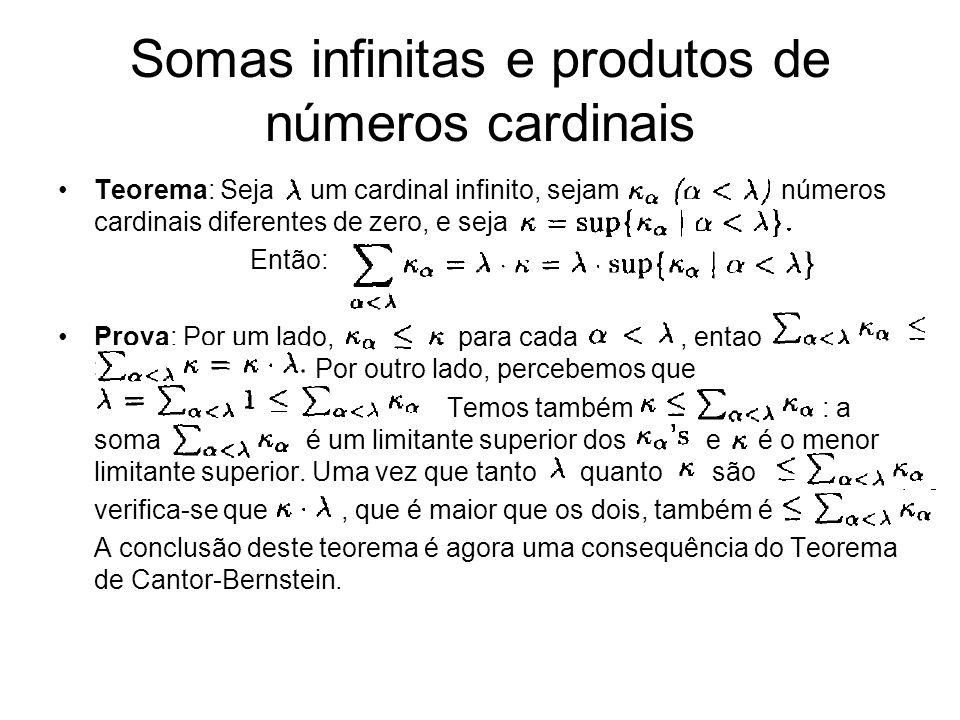 Teorema: Seja um cardinal infinito, sejam números cardinais diferentes de zero, e seja Então: Prova: Por um lado, para cada, entao > Por outro lado, p