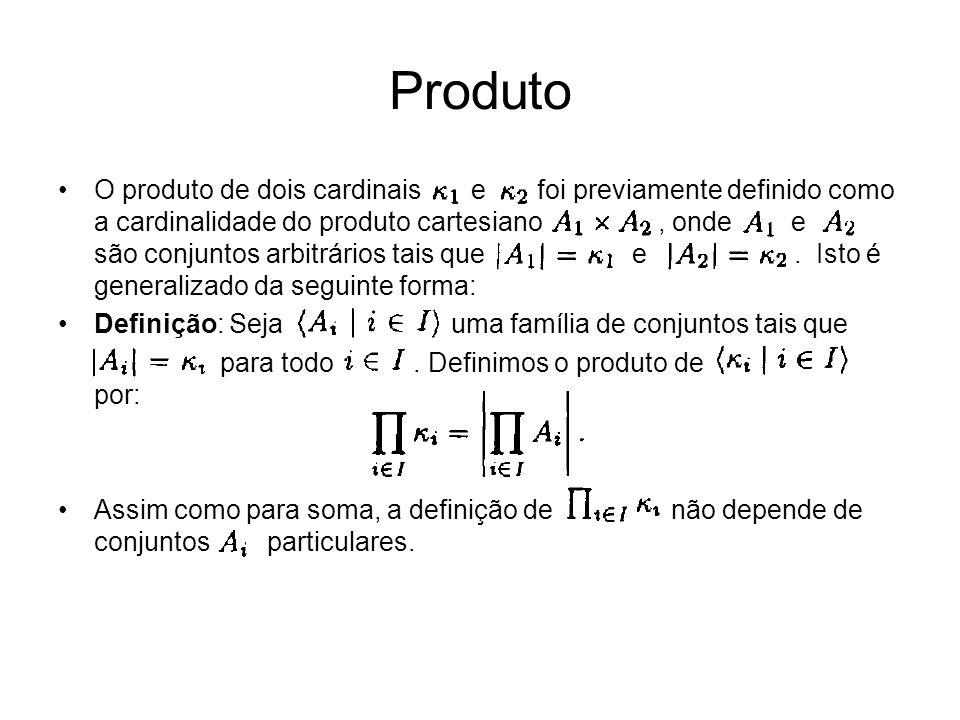 O produto de dois cardinais e foi previamente definido como a cardinalidade do produto cartesiano, onde e são conjuntos arbitrários tais que e. Isto é