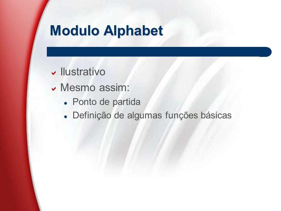 Modulo Alphabet  Ilustrativo  Mesmo assim: Ponto de partida Definição de algumas funções básicas