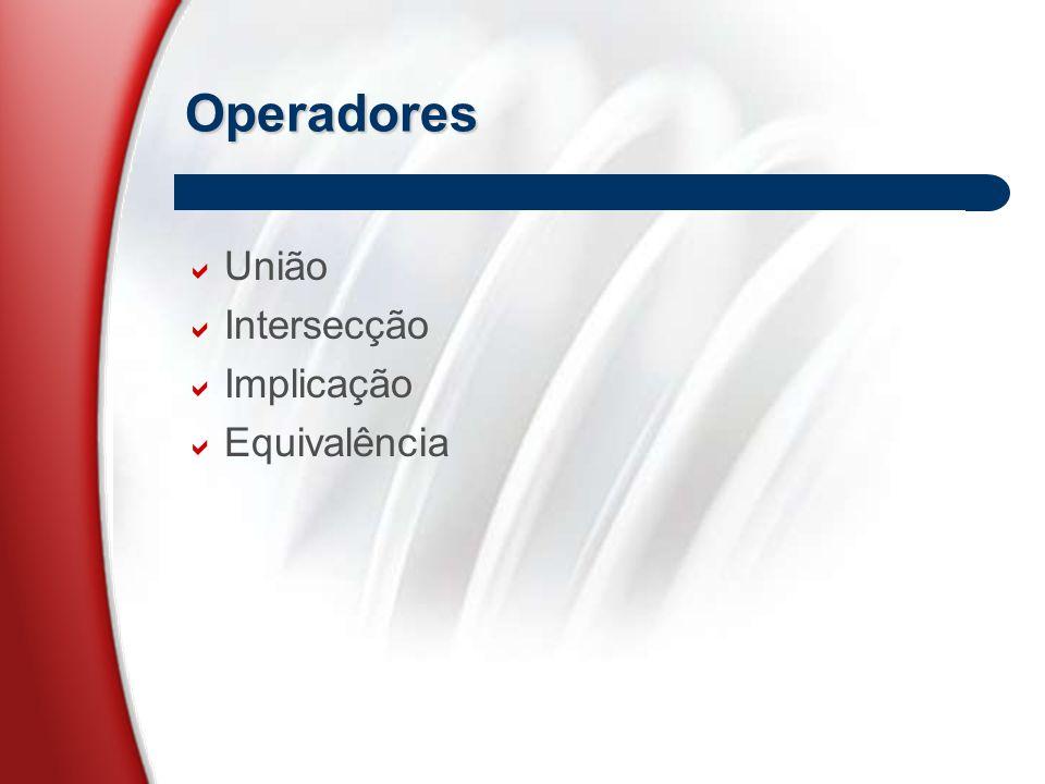Operadores  União  Intersecção  Implicação  Equivalência