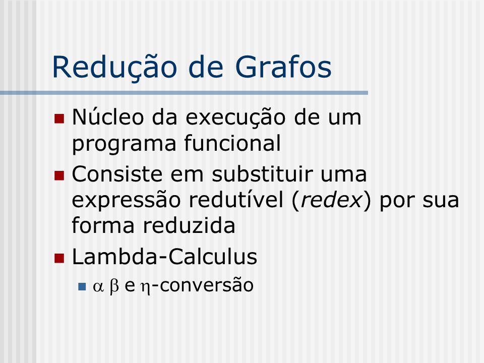 Redução de Grafos Núcleo da execução de um programa funcional Consiste em substituir uma expressão redutível (redex) por sua forma reduzida Lambda-Cal