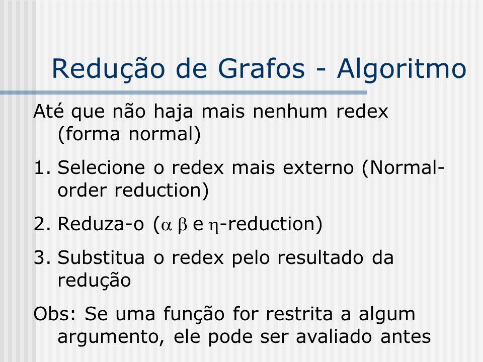 Redução de Grafos - Algoritmo Até que não haja mais nenhum redex (forma normal) 1.Selecione o redex mais externo (Normal- order reduction) 2.Reduza-o