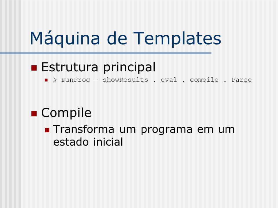Máquina de Templates Estrutura principal > runProg = showResults. eval. compile. Parse Compile Transforma um programa em um estado inicial