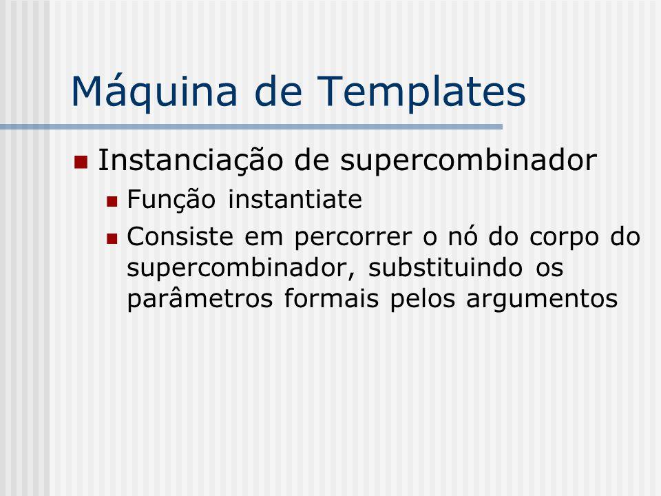Máquina de Templates Instanciação de supercombinador Função instantiate Consiste em percorrer o nó do corpo do supercombinador, substituindo os parâme
