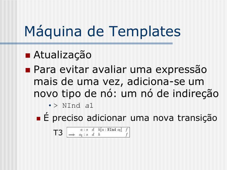 Máquina de Templates Atualização Para evitar avaliar uma expressão mais de uma vez, adiciona-se um novo tipo de nó: um nó de indireção > NInd a1 É pre