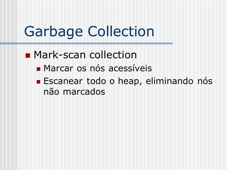 Garbage Collection Mark-scan collection Marcar os nós acessíveis Escanear todo o heap, eliminando nós não marcados