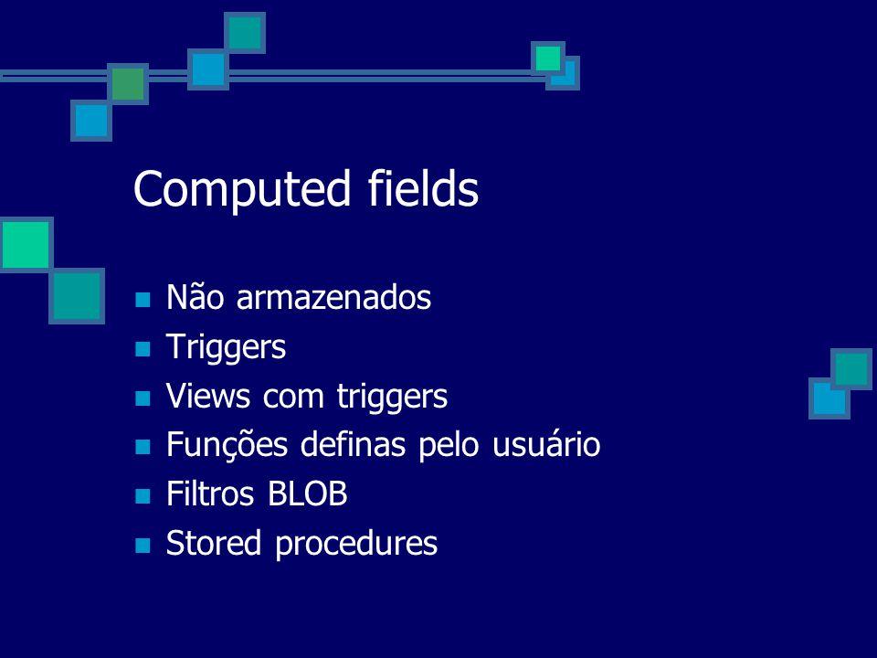 Computed fields Não armazenados Triggers Views com triggers Funções definas pelo usuário Filtros BLOB Stored procedures