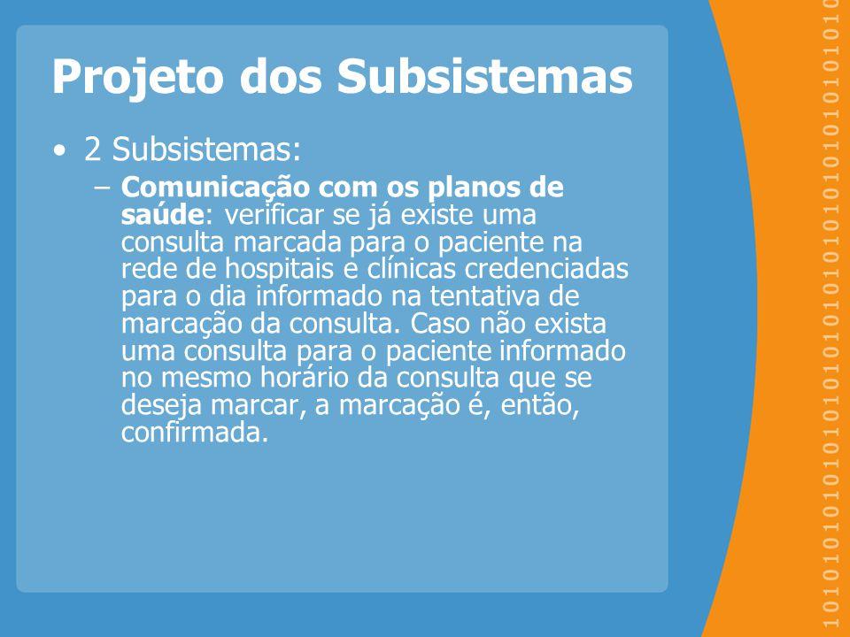 Projeto dos Subsistemas 2 Subsistemas: –Comunicação com os planos de saúde: verificar se já existe uma consulta marcada para o paciente na rede de hos