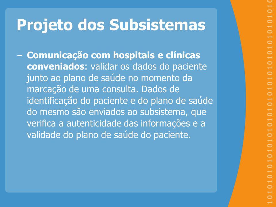 Projeto dos Subsistemas −Comunicação com hospitais e clínicas conveniados: validar os dados do paciente junto ao plano de saúde no momento da marcação