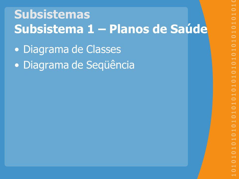 Subsistemas Subsistema 1 – Planos de Saúde Diagrama de Classes Diagrama de Seqüência
