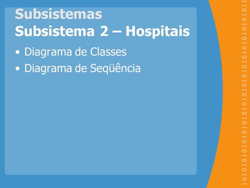 Subsistemas Subsistema 2 – Hospitais Diagrama de Classes Diagrama de Seqüência