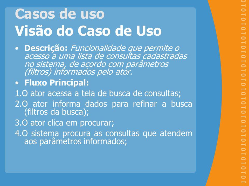 Casos de uso Visão do Caso de Uso Descrição: Funcionalidade que permite o acesso a uma lista de consultas cadastradas no sistema, de acordo com parâme