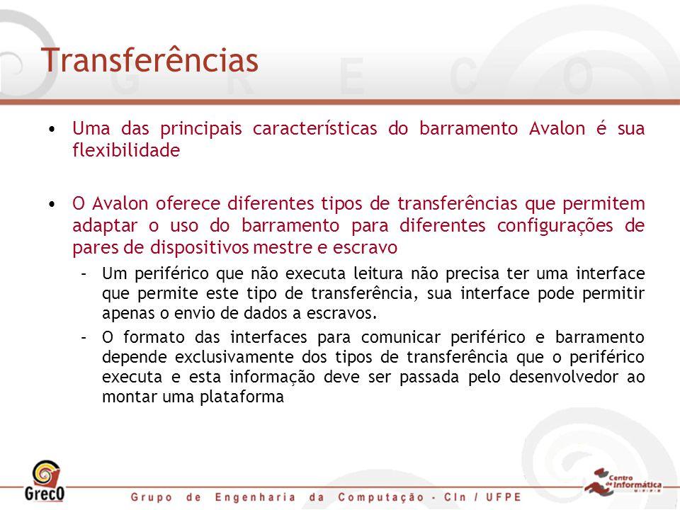 Transferências Uma das principais características do barramento Avalon é sua flexibilidade O Avalon oferece diferentes tipos de transferências que per