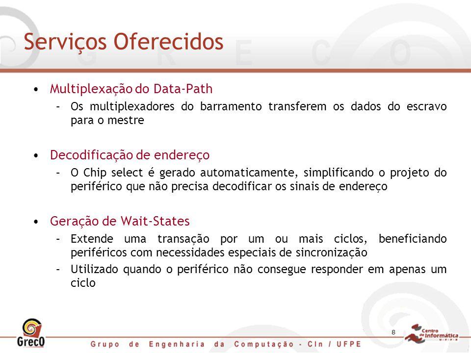 8 Serviços Oferecidos Multiplexação do Data-Path –Os multiplexadores do barramento transferem os dados do escravo para o mestre Decodificação de ender