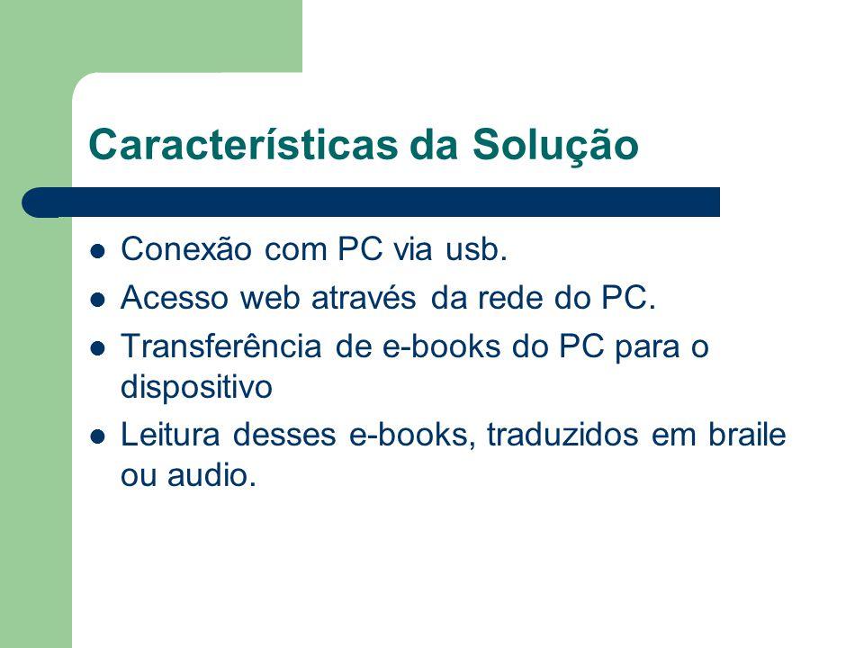 Características da Solução Conexão com PC via usb. Acesso web através da rede do PC. Transferência de e-books do PC para o dispositivo Leitura desses