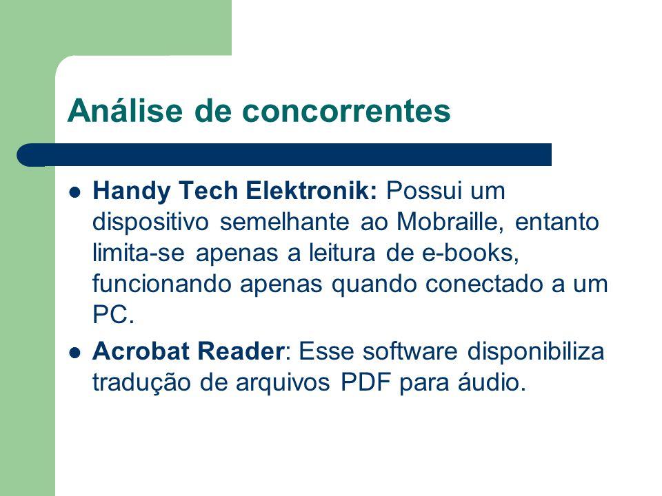Análise de concorrentes Handy Tech Elektronik: Possui um dispositivo semelhante ao Mobraille, entanto limita-se apenas a leitura de e-books, funcionando apenas quando conectado a um PC.