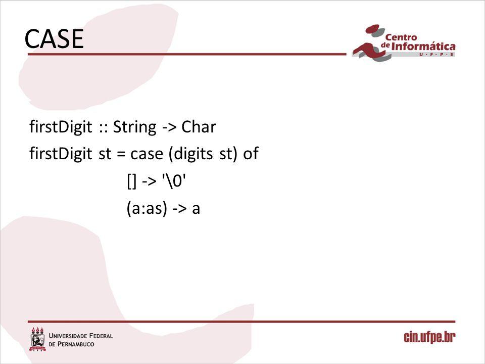 CASE firstDigit :: String -> Char firstDigit st = case (digits st) of [] -> '\0' (a:as) -> a