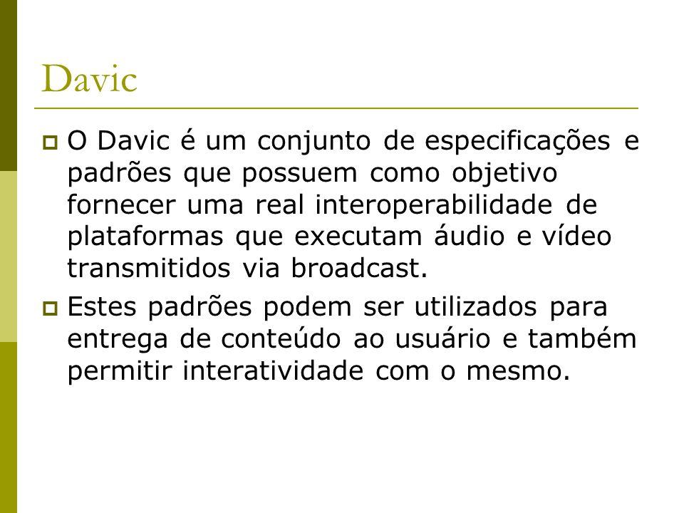 Davic  O Davic é um conjunto de especificações e padrões que possuem como objetivo fornecer uma real interoperabilidade de plataformas que executam áudio e vídeo transmitidos via broadcast.