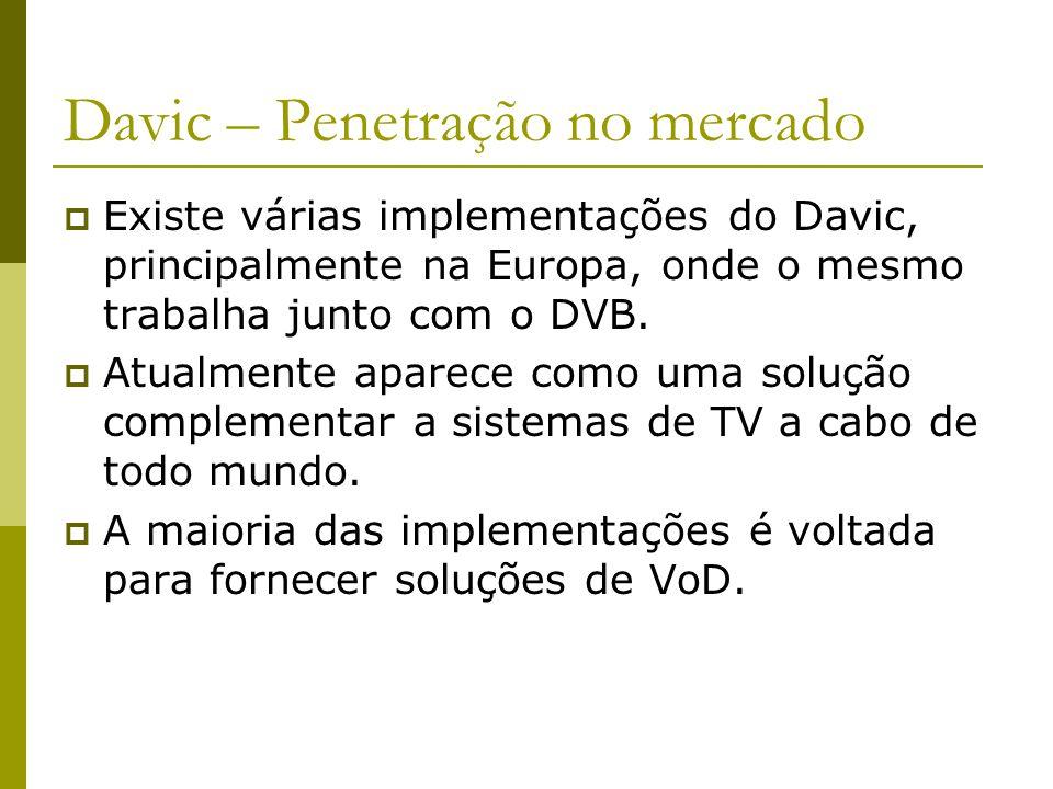 Davic – Penetração no mercado  Existe várias implementações do Davic, principalmente na Europa, onde o mesmo trabalha junto com o DVB.