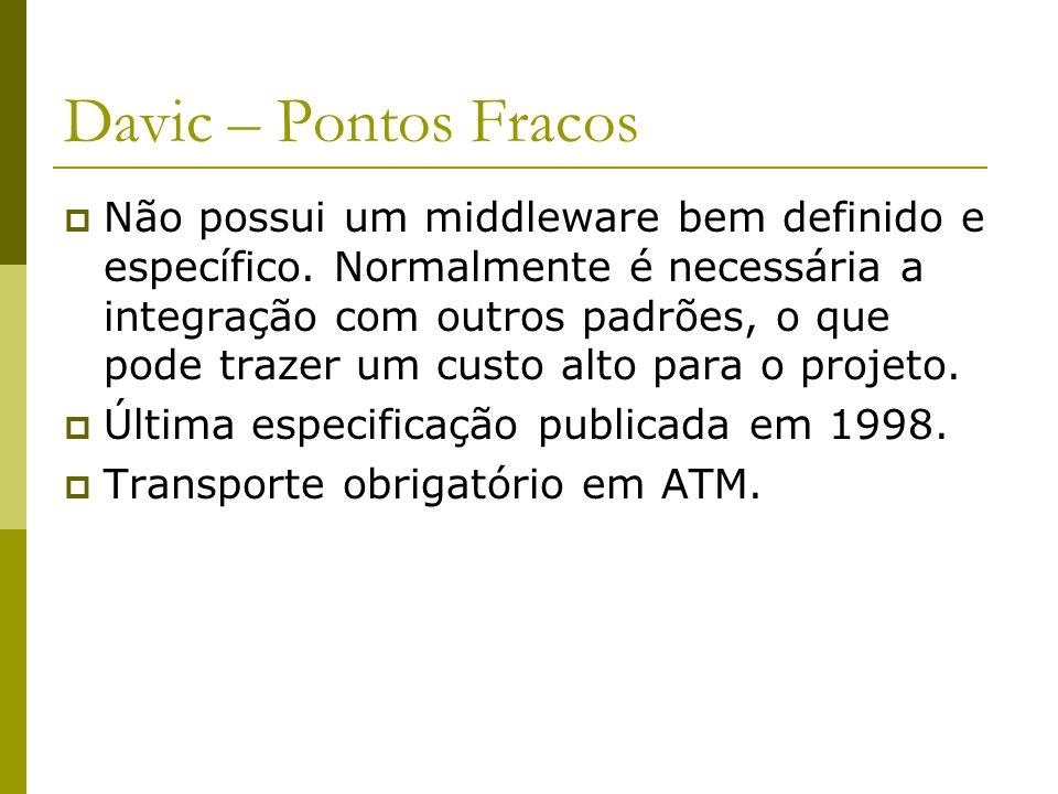 Davic – Pontos Fracos  Não possui um middleware bem definido e específico.