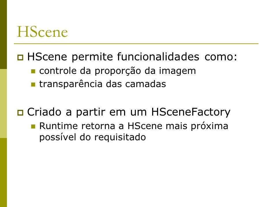 HScene  HScene permite funcionalidades como: controle da proporção da imagem transparência das camadas  Criado a partir em um HSceneFactory Runtime retorna a HScene mais próxima possível do requisitado