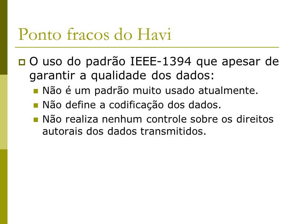 Ponto fracos do Havi  O uso do padrão IEEE-1394 que apesar de garantir a qualidade dos dados: Não é um padrão muito usado atualmente.