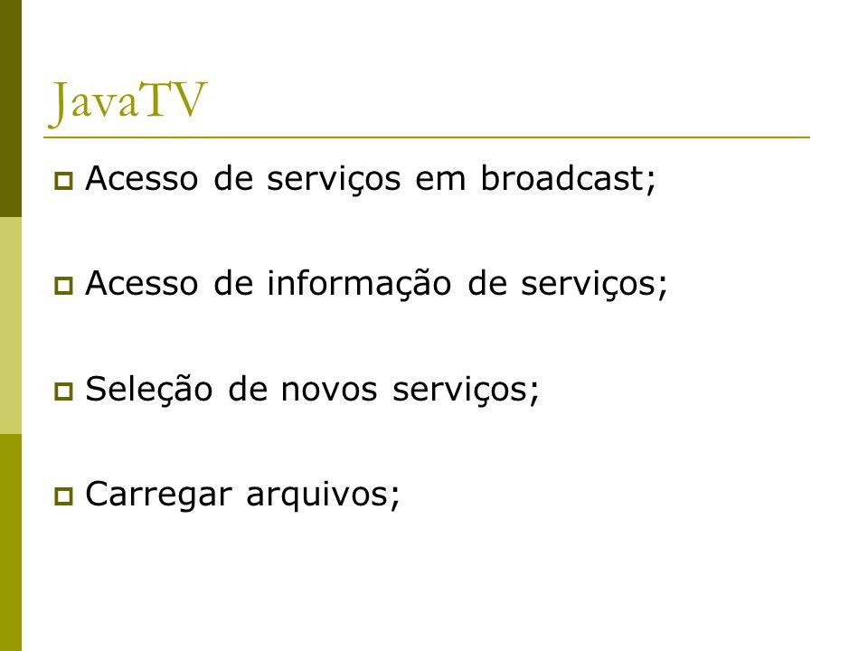 JavaTV  Acesso de serviços em broadcast;  Acesso de informação de serviços;  Seleção de novos serviços;  Carregar arquivos;