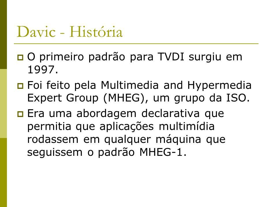 JavaTV  Modelo de Aplicação da Sun  Muito em comum com MHP  Não atrelado a padrões MHP; OCAP; ACAP; ARIB B23.