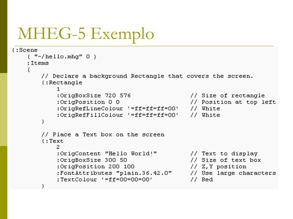 Davic – MHEG  Em 1998, o sucesso de Java fez com que fosse lançado o MHEG-6, que basicamente era a conversão do 5 para Java.