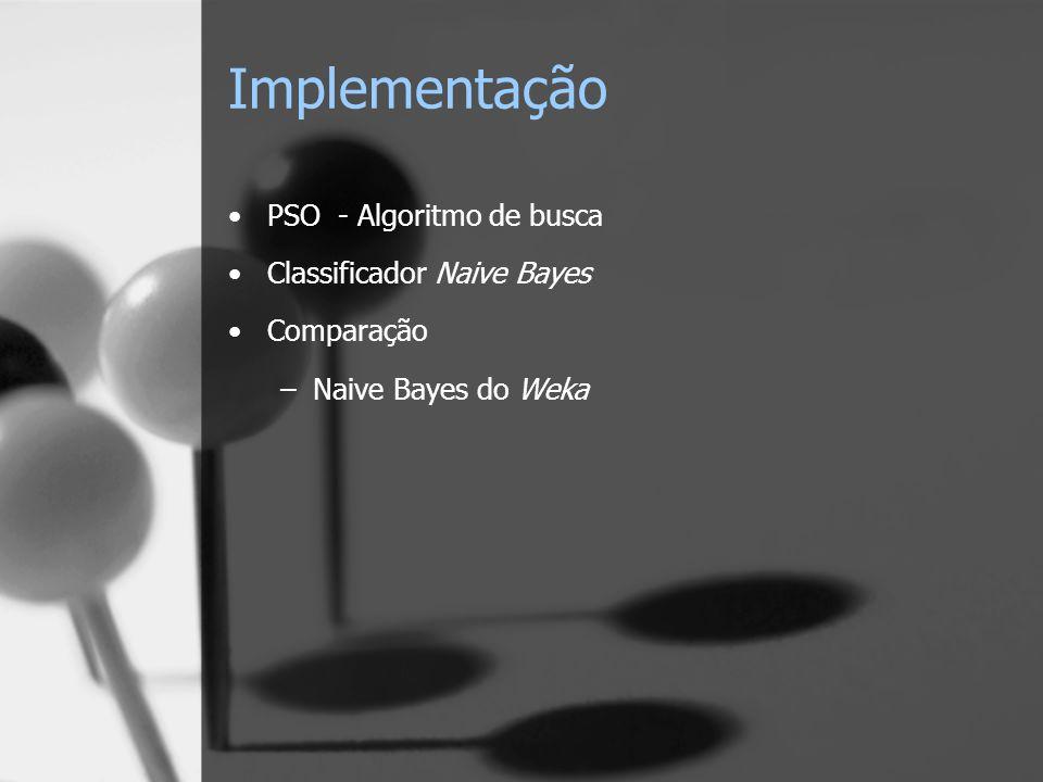 Implementação PSO - Algoritmo de busca Classificador Naive Bayes Comparação –Naive Bayes do Weka