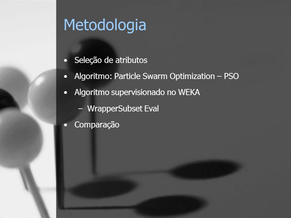 Metodologia Seleção de atributos Algoritmo: Particle Swarm Optimization – PSO Algoritmo supervisionado no WEKA –WrapperSubset Eval Comparação
