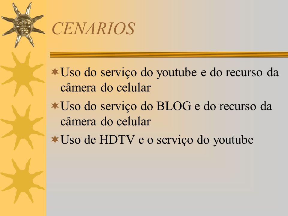 CENARIOS  Uso do serviço do youtube e do recurso da câmera do celular  Uso do serviço do BLOG e do recurso da câmera do celular  Uso de HDTV e o serviço do youtube