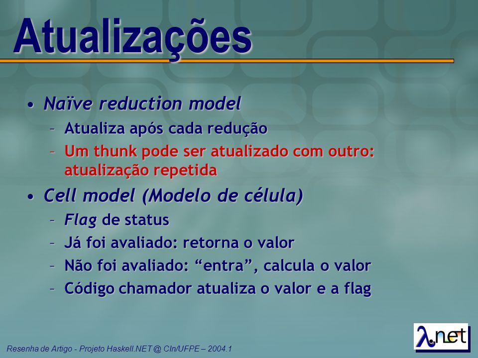 Resenha de Artigo - Projeto Haskell.NET @ CIn/UFPE – 2004.1 Atualizações Naïve reduction modelNaïve reduction model –Atualiza após cada redução –Um th